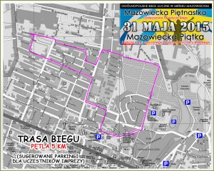 Mapa trasy Mazowieckiej Piętnastki