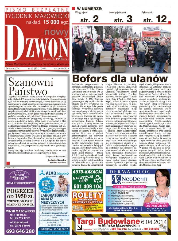 Strona tytułowa Tygodnika Nowy Dzwon nr13/2014